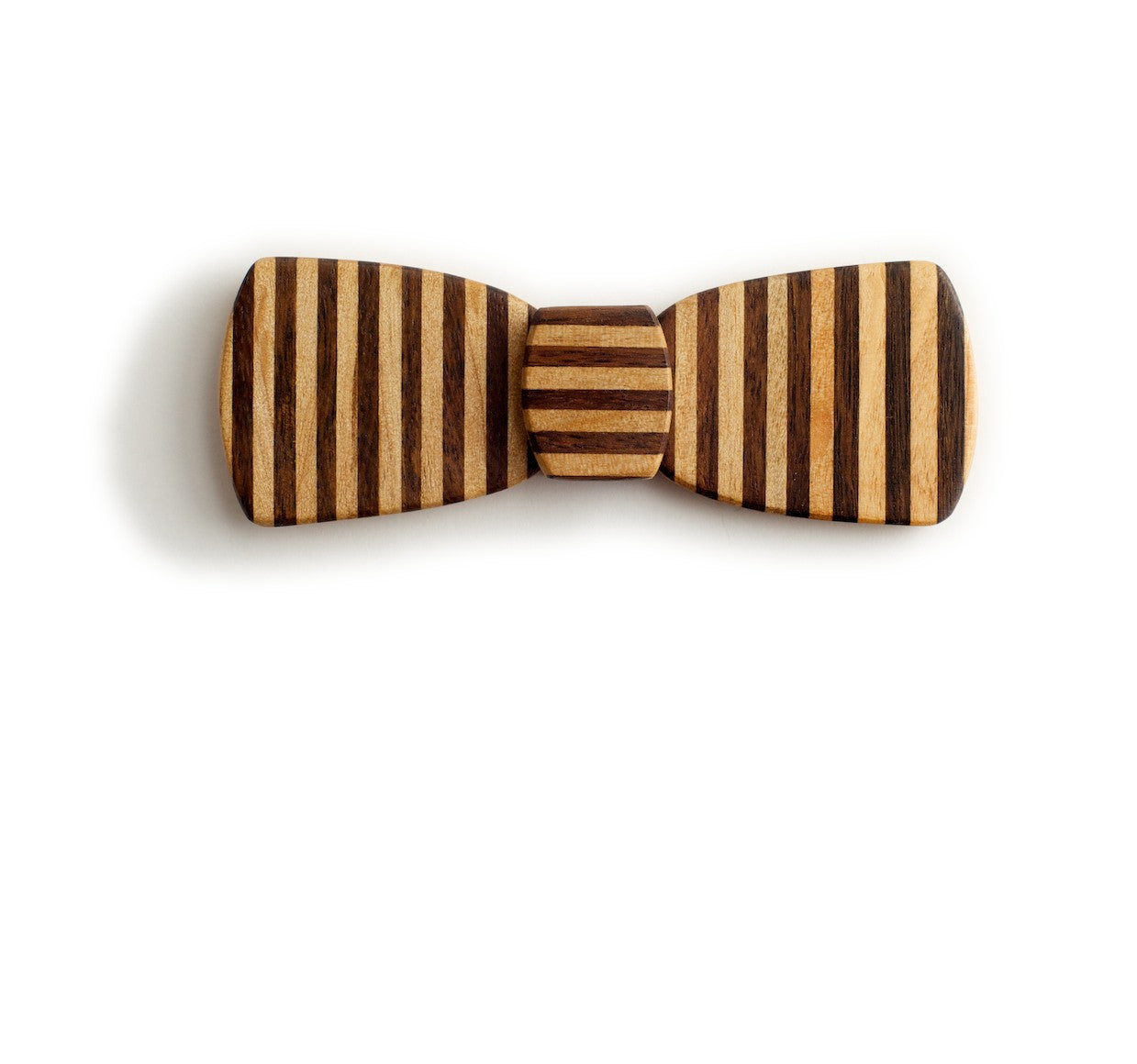 Batwing Hipster Wood Bow Tie - Pinstripe