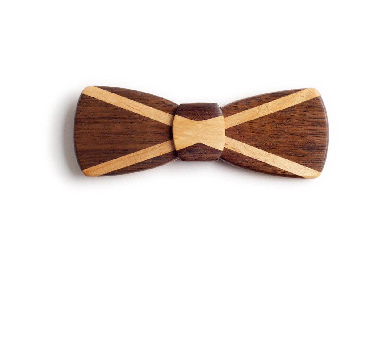 Batwing Wood Bow Tie - Scottish Flag Grooms Tie