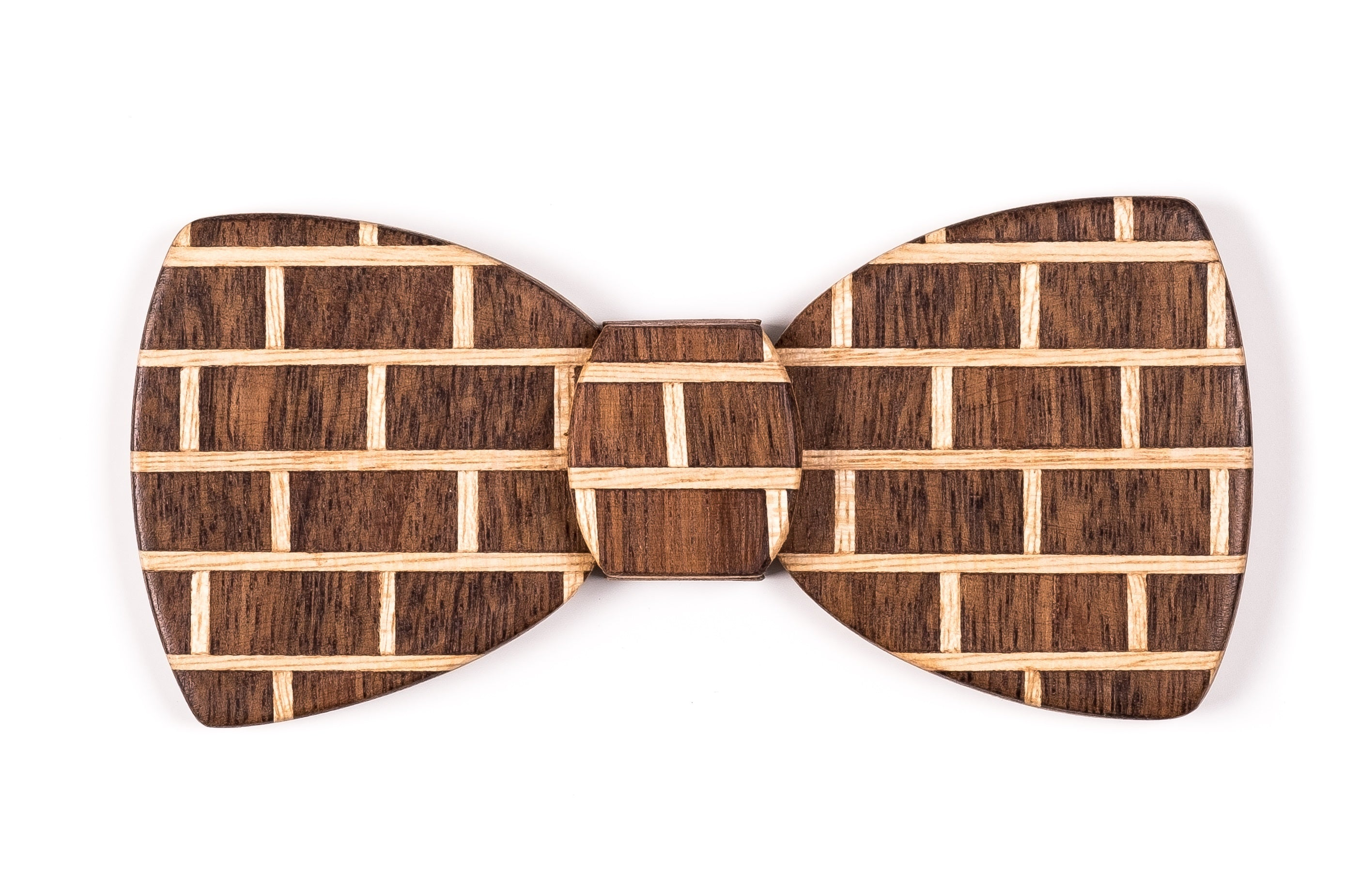 Butterfly Hipster Wood Bow Tie - Brick Dark