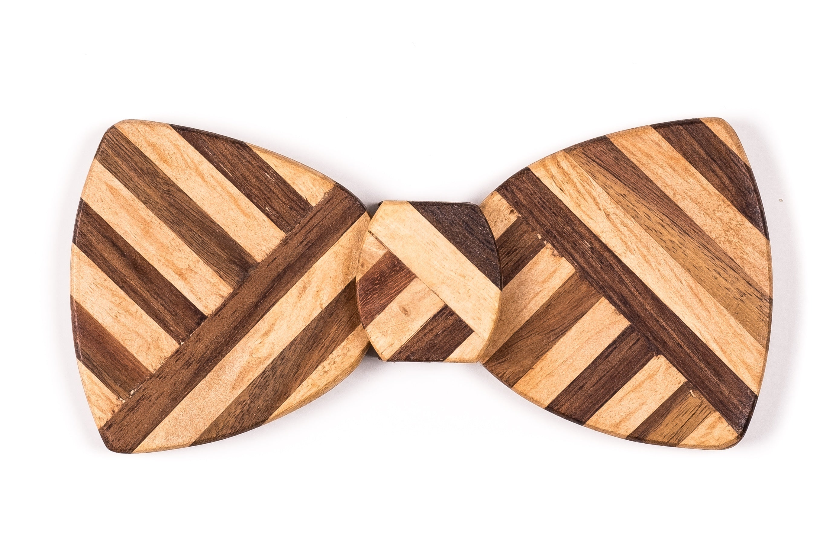 Butterfly Hipster Wood Bow Tie - Multi Z Stripe thick