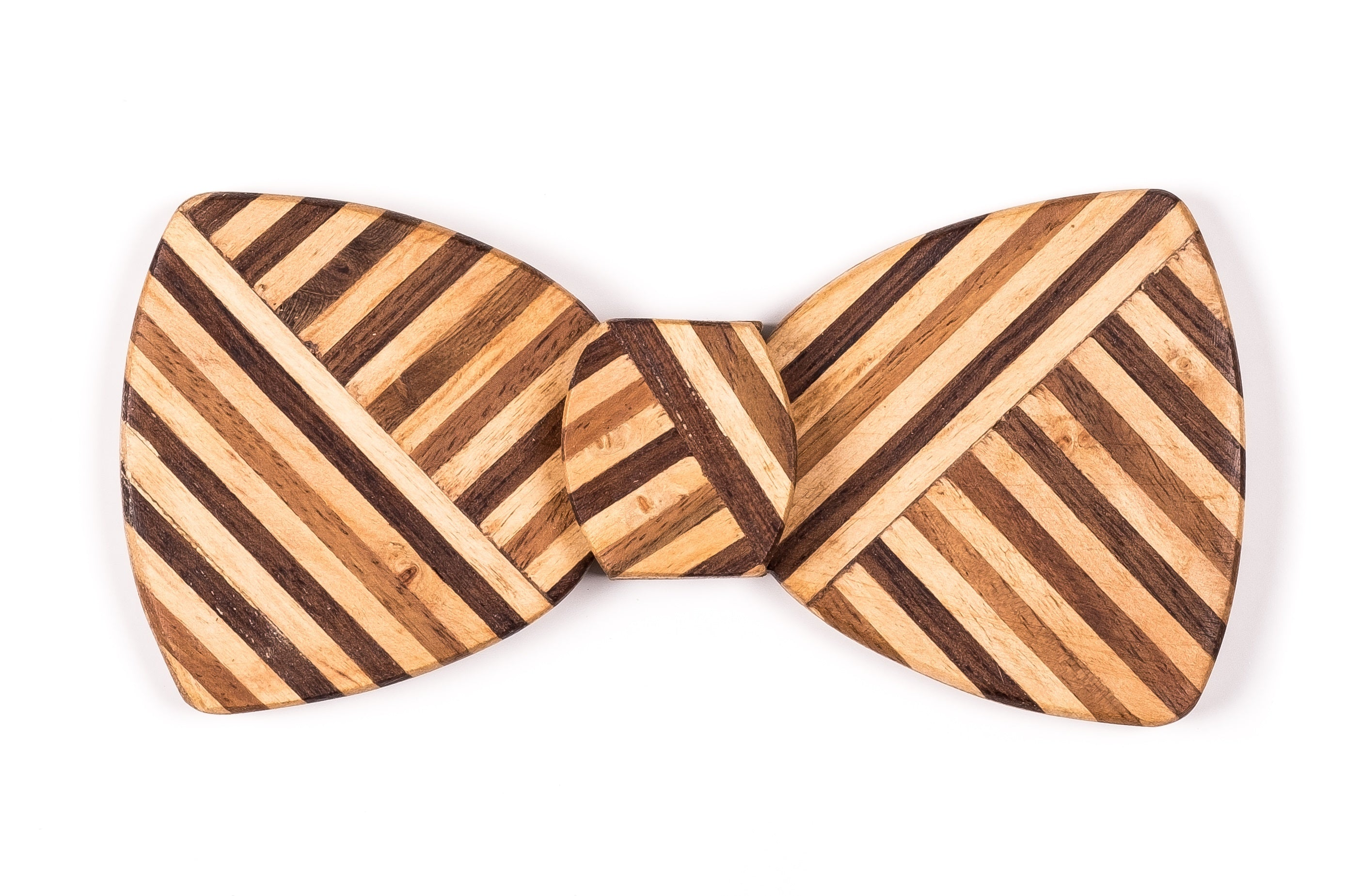 Butterfly Hipster Wood Bow Tie - Multi Z Stripe thin