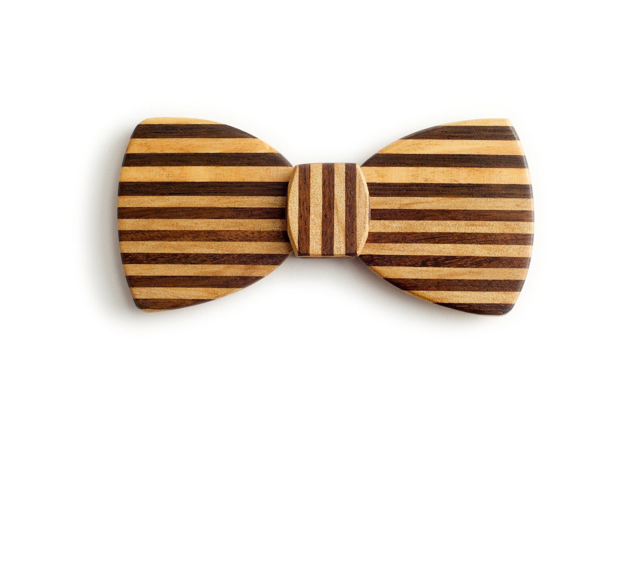 Butterfly Wood Bow Tie - Pinstripe Horizontal
