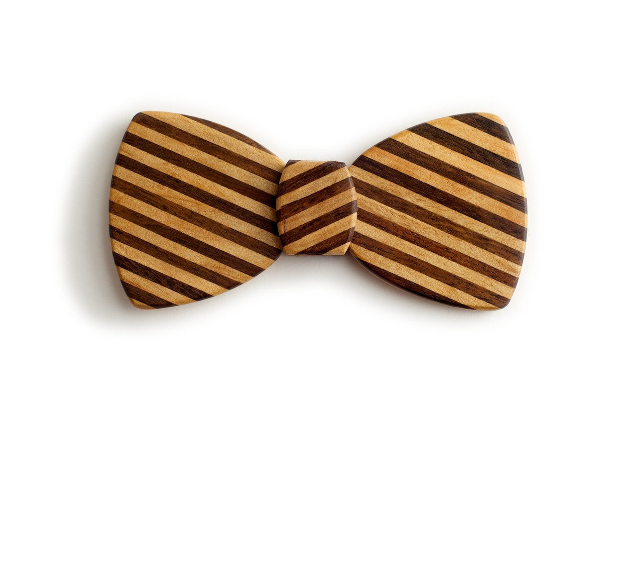 Butterfly Wood Bow Tie - Pinstripe Slash
