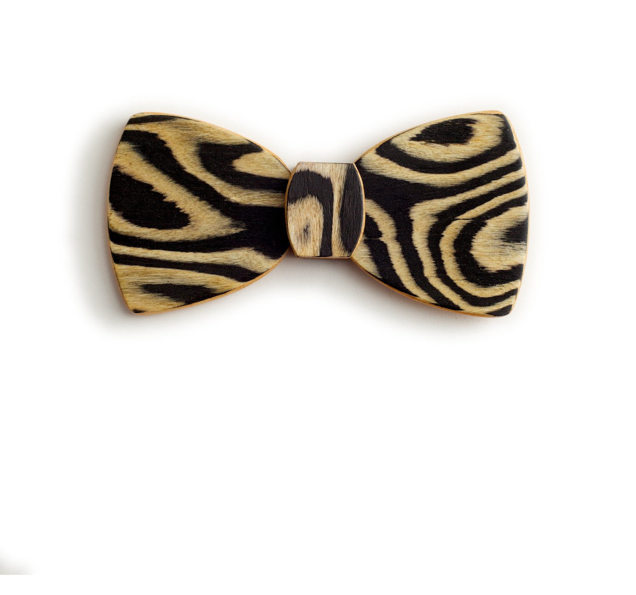 Butterfly Wood Bow Tie - Snow Tiger