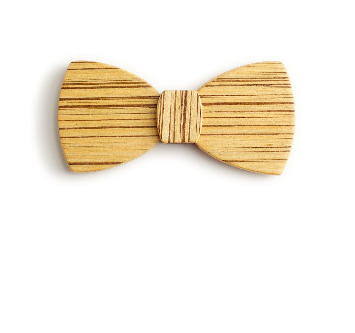 Butterfly Wood Bow Tie - Zebrano Light