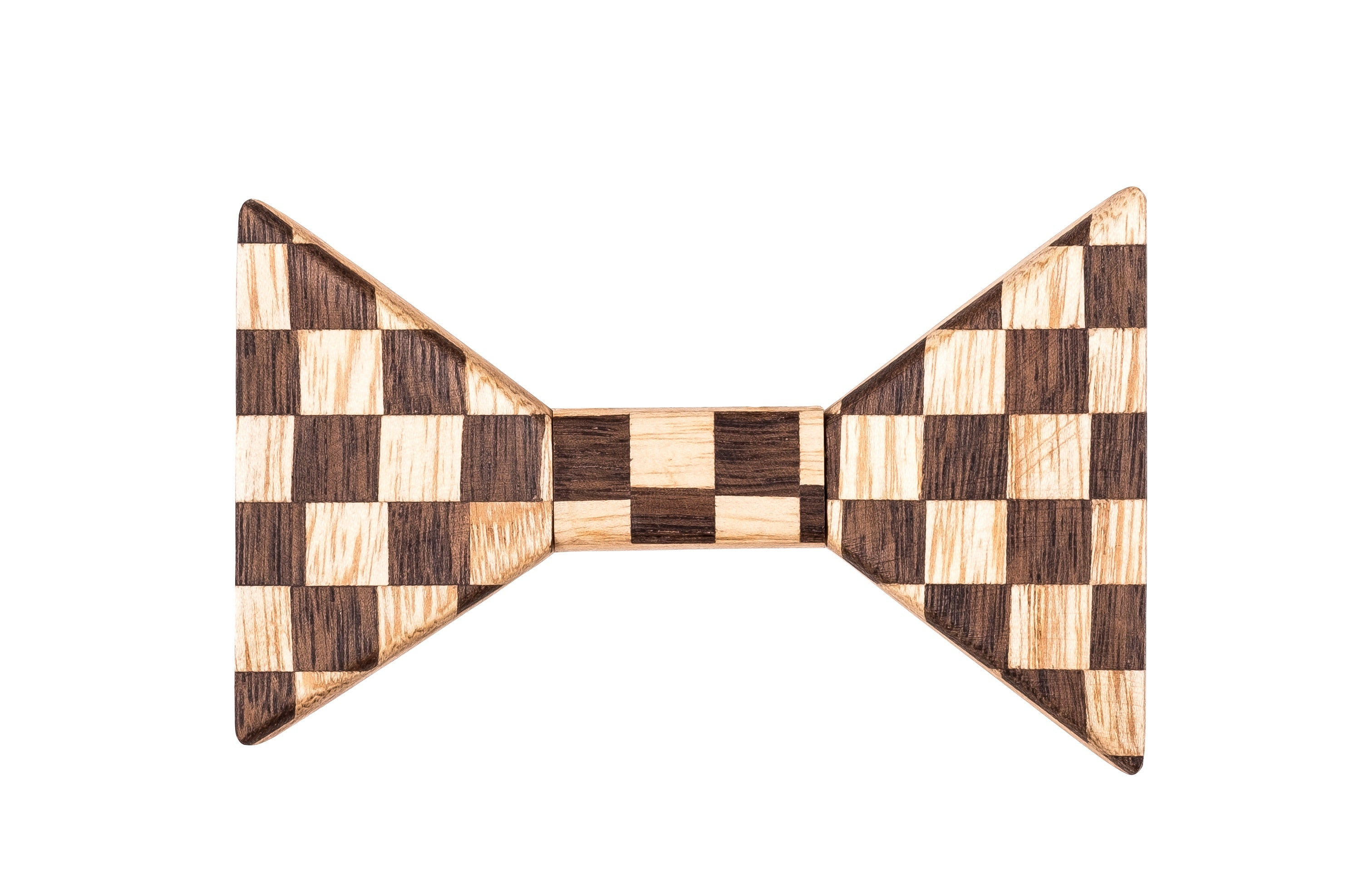 Sharp Pinstripe Two Tone Wooden Bow Tie