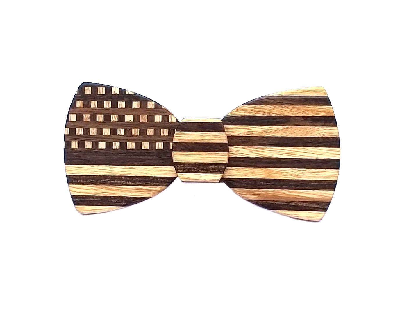 Butterfly Hipster Wood Bow Tie - American Flag Stars & Stripes