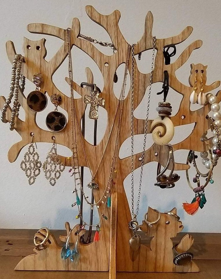 Handmade Wooden Jewellery Tree Jewellery Organizer Necklace Holder Earring Holder Storage. Veneered both sides with different wood