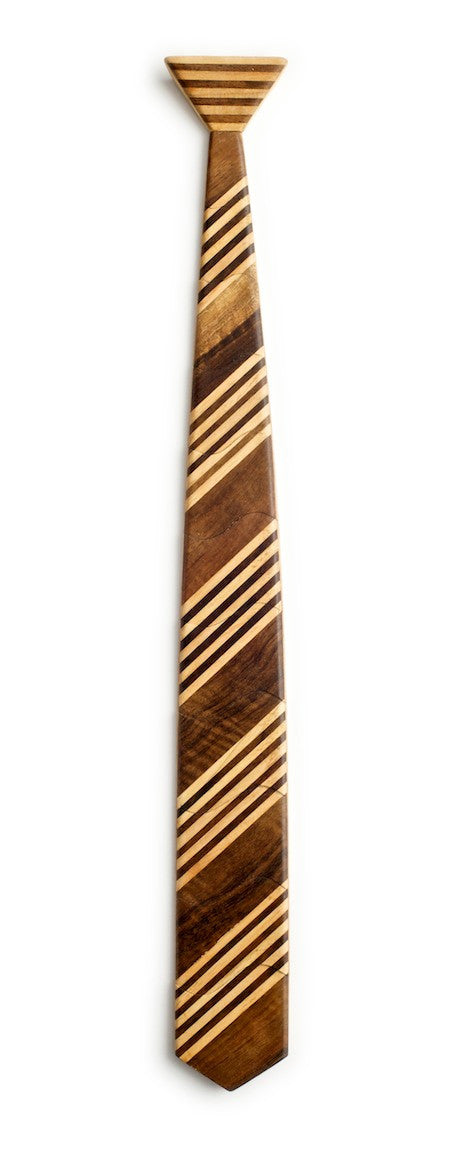 Classic 5 Stripe Dark Wooden Tie