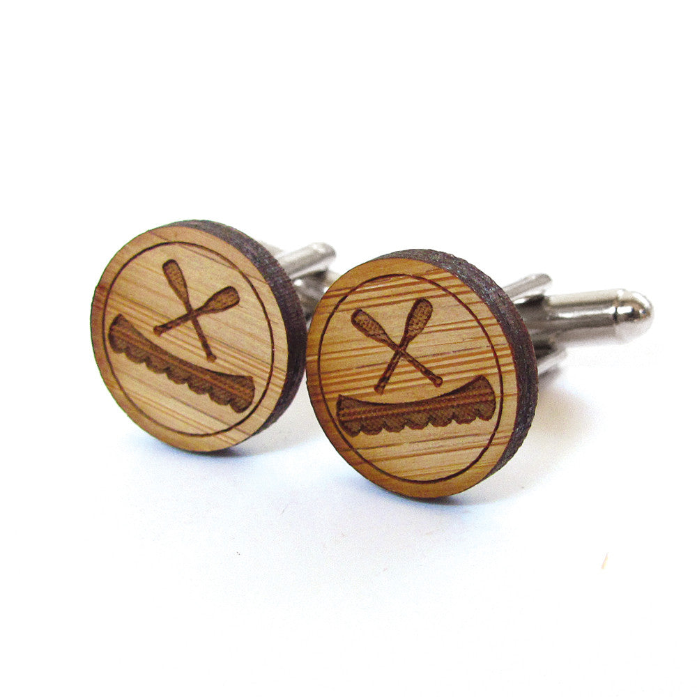 Canoe and Paddles Wooden Cufflinks