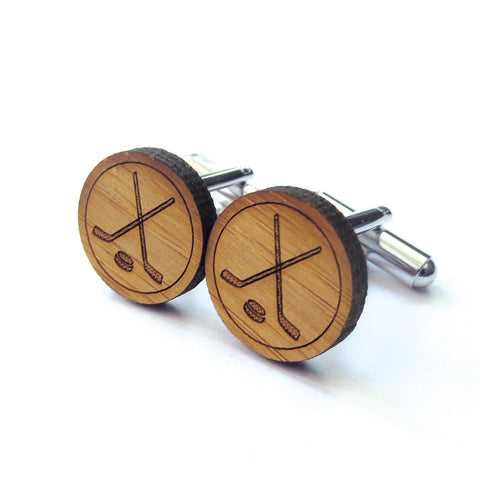 DEER STAG WOODEN CUFFLINKS - CREST