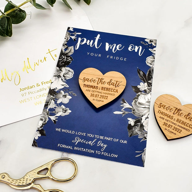 Personalised 'Save The Date' Magnet Cards - Floral Navy Blue