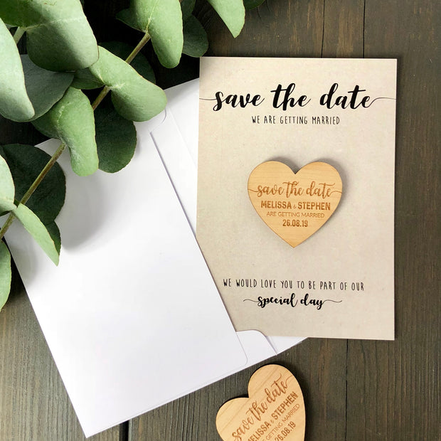 Personalised 'Save The Date' Magnet Cards - Kraft