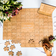 Puzzle Guest Book Alternative - White writing