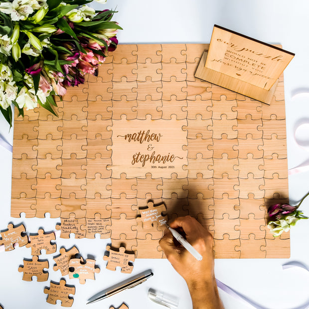 Puzzle Guest Book Alternative - Engraved