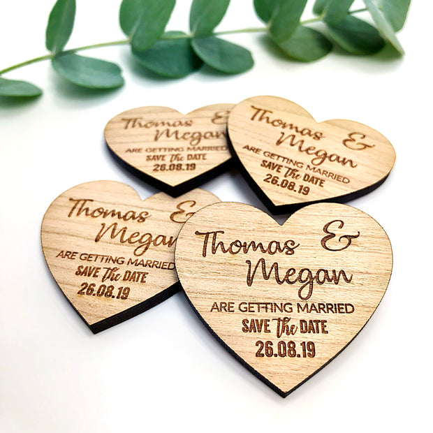 "Personalised Save the Date Wooden Magnets ""Rustic Elegant"""