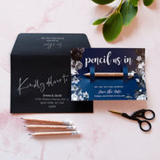 SAMPLE - Pencil Us In Save the Date with Navy Blue Floral card
