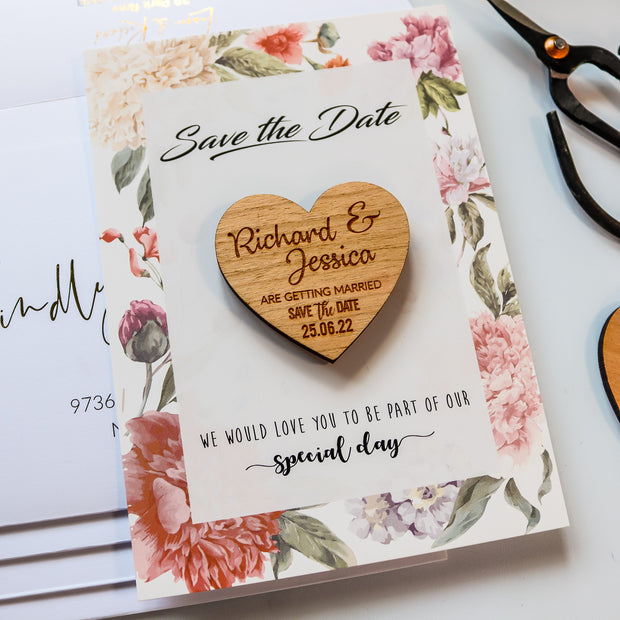 SAMPLE - Save the Date Magnet with Floral Card