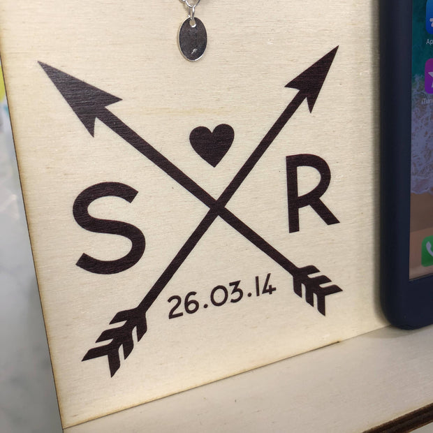 Docking Station - Personalised Docking Station With Couple's Initials