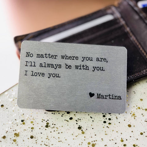 Wallet Insert - Personalised Wallet Metal Card With Text/Quote