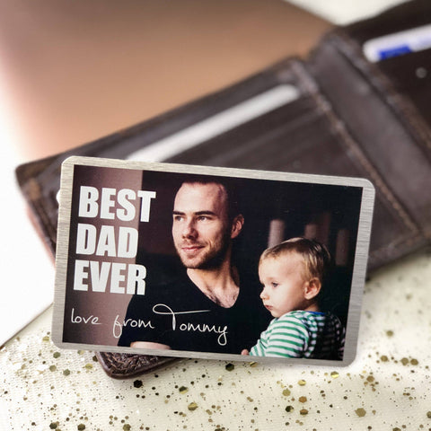 Wallet Insert - Personalised Wallet Metal Photo Card Best Dad