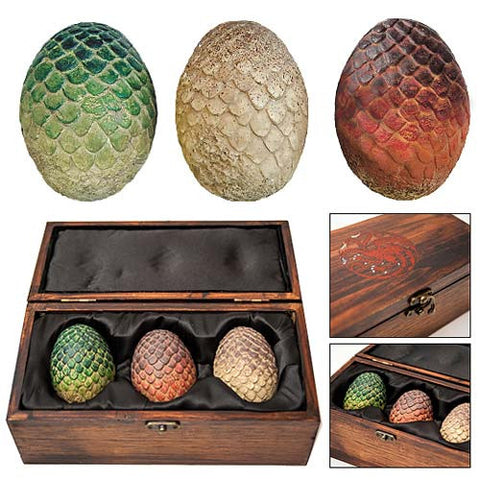 Game of Thrones Dragon Egg Prop Replica Set in Wooden Box, Artisan Designs, The Fandom Frenzy, Amazon.com
