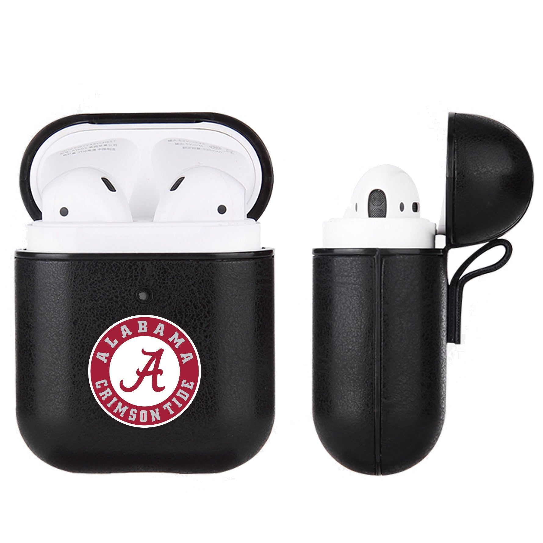 Alabama Crimson Tide Primary Mark design Black Apple Air Pod Leather Case