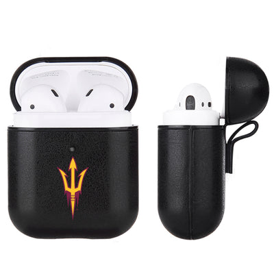 Arizona State Sun Devils Primary Mark design Black Apple Air Pod Leather Case
