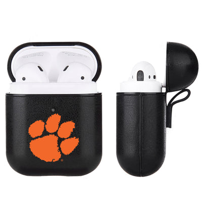 Clemson Tigers Primary Mark design Black Apple Air Pod Leather Case