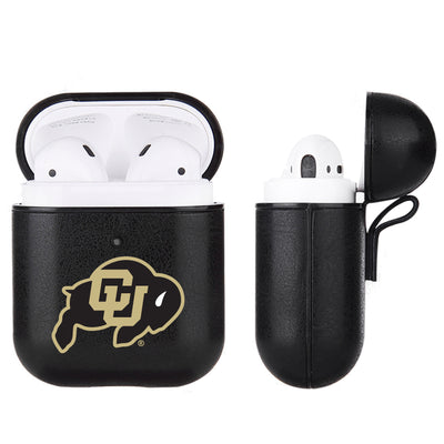 Colorado Buffaloes Primary Mark design Black Apple Air Pod Leather Case