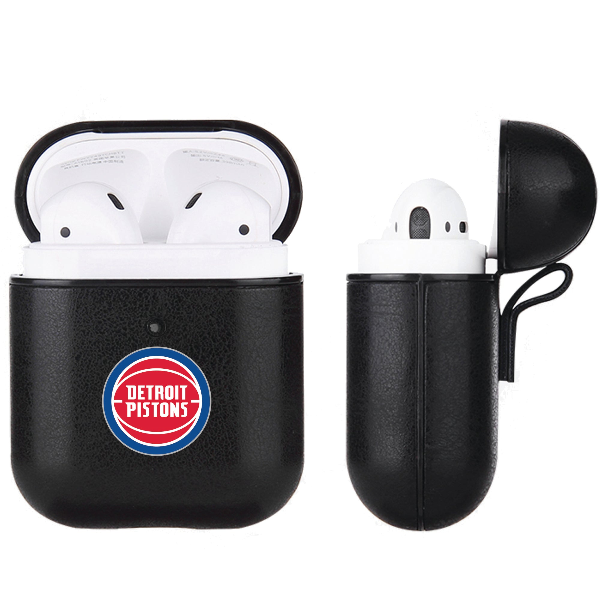 Detroit Pistons Black Apple Air Pod Leather Case