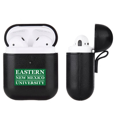 Eastern New Mexico Greyhounds Primary Mark design Black Apple Air Pod Leather Case
