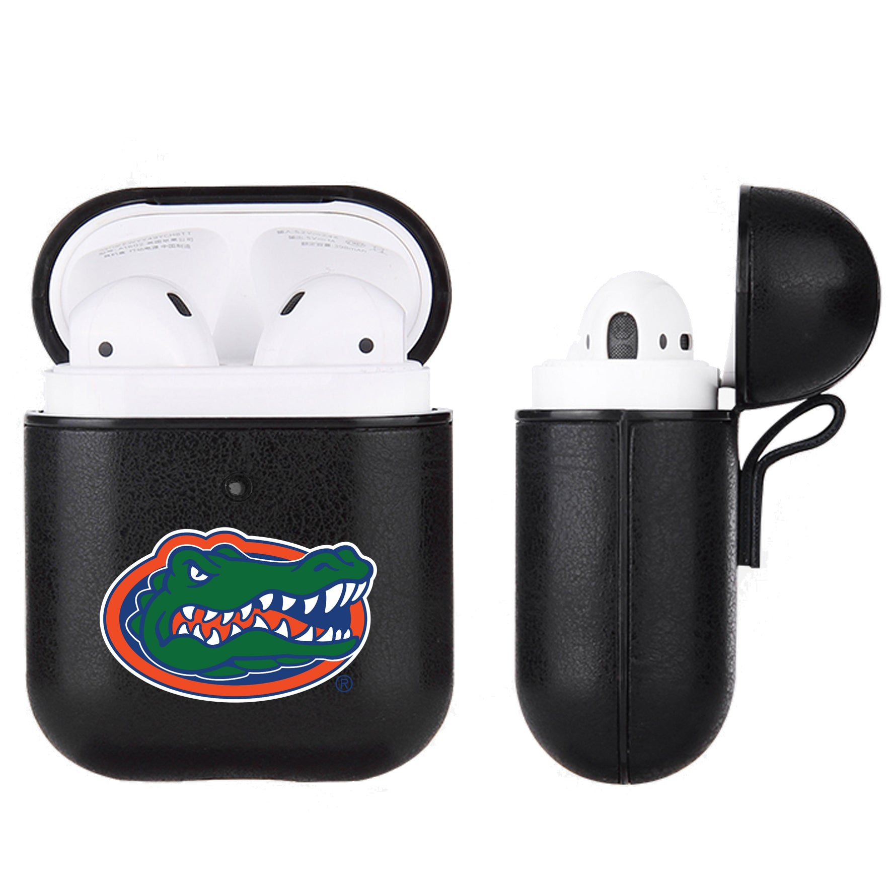 Florida Gators Primary Mark design Black Apple Air Pod Leather Case