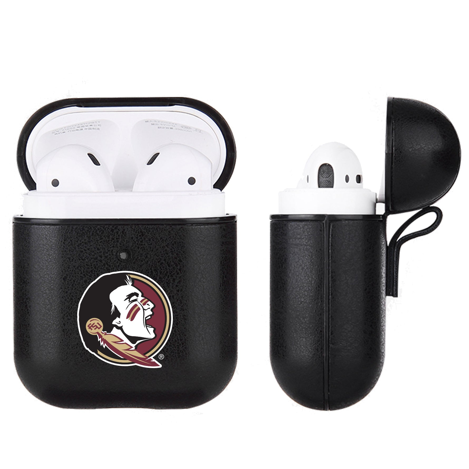 Florida State Seminoles Primary Mark design Black Apple Air Pod Leather Case