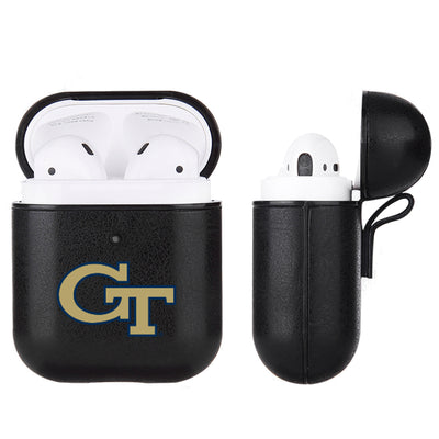 Georgia Tech Yellow Jackets Primary Mark design Black Apple Air Pod Leather Case