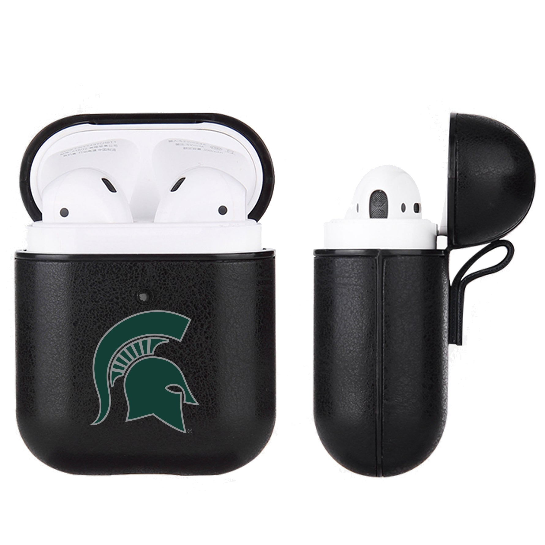 Michigan State Spartans Primary Mark design Black Apple Air Pod Leather Case