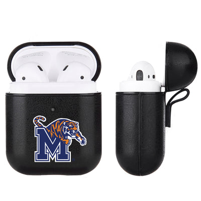 Memphis Tigers Primary Mark design Black Apple Air Pod Leather Case