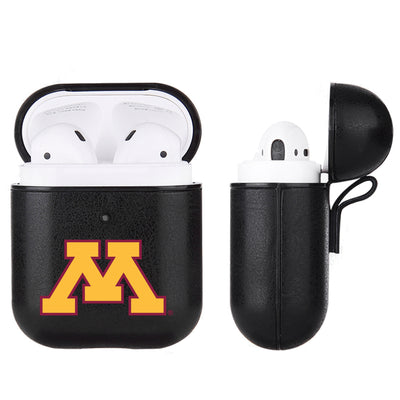 Minnesota Golden Gophers Primary Mark design Black Apple Air Pod Leather Case