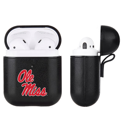 Mississippi Ole Miss Primary Mark design Black Apple Air Pod Leather Case