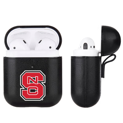 NC State Wolfpack Primary Mark design Black Apple Air Pod Leather Case