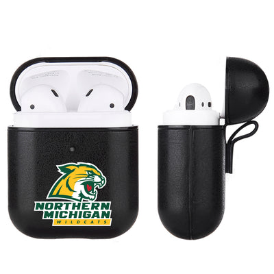 Northern Michigan University Wildcats Primary Mark design Black Apple Air Pod Leather Case