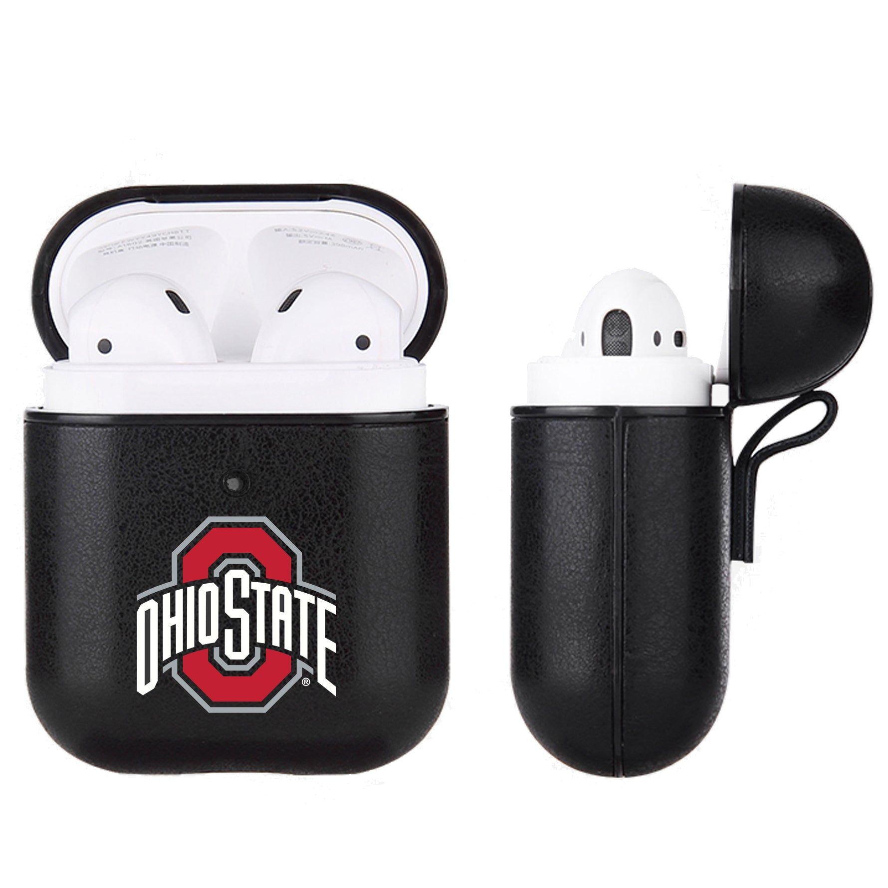 Ohio State Buckeyes Primary Mark design Black Apple Air Pod Leather Case