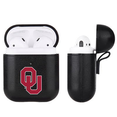 Oklahoma Sooners Primary Mark design Black Apple Air Pod Leather Case