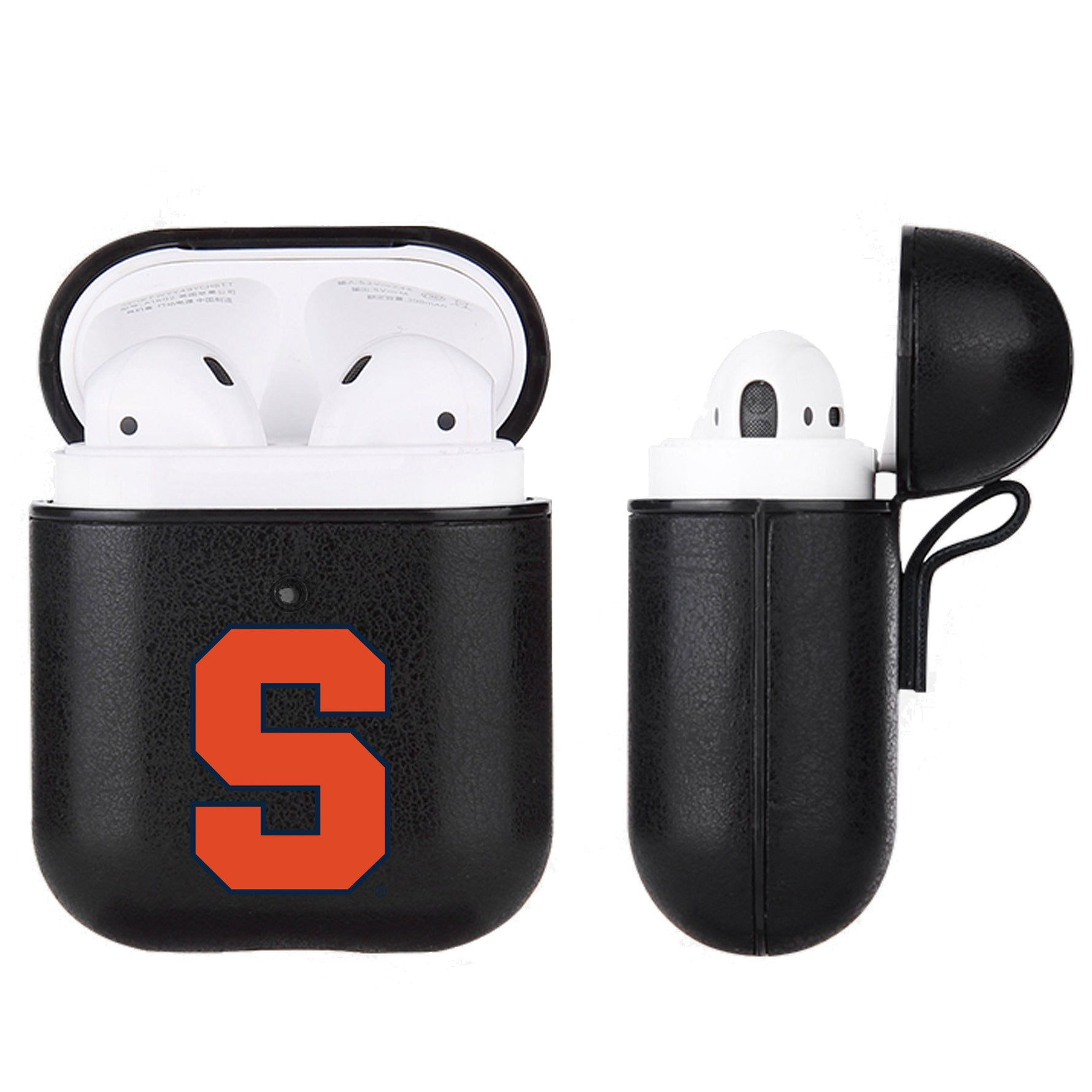 Syracuse Orange Primary Mark design Black Apple Air Pod Leather Case