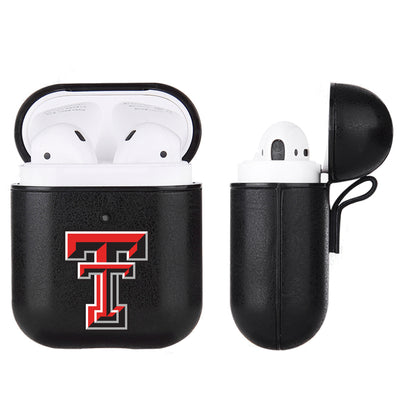 Texas Tech Red Raiders Primary Mark design Black Apple Air Pod Leather Case