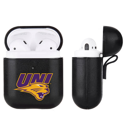 Northern Iowa Panthers Primary Mark design Black Apple Air Pod Leather Case