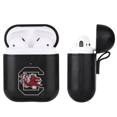 South Carolina Gamecocks Primary Mark design Black Apple Air Pod Leather Case