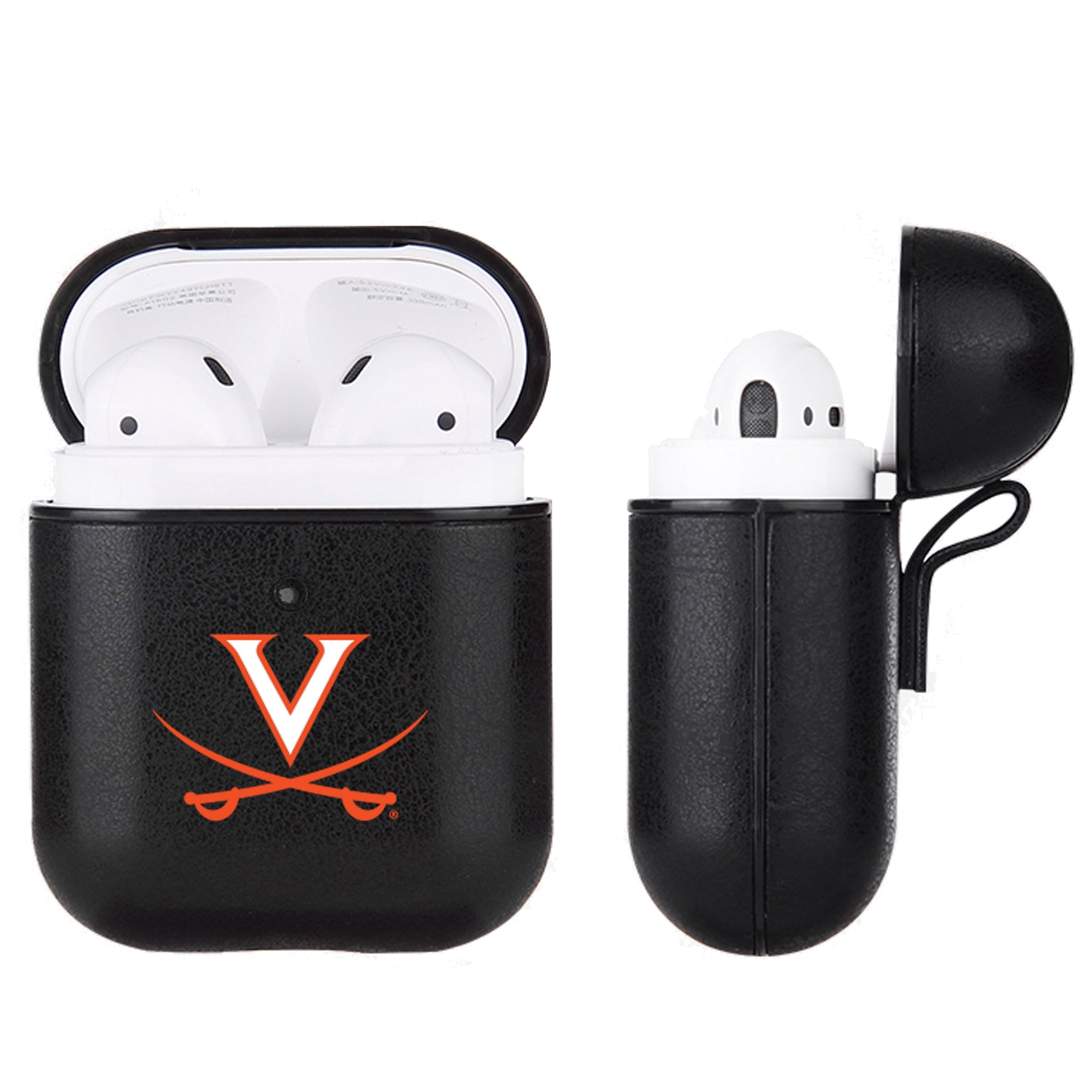 Virginia Cavaliers Primary Mark design Black Apple Air Pod Leather Case
