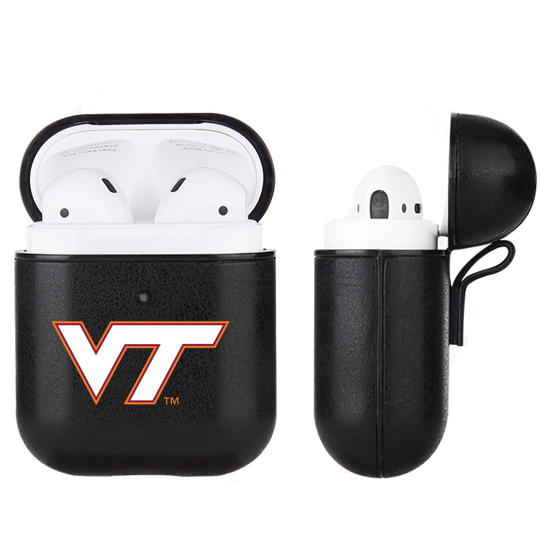 Virginia Tech Hokies Primary Mark design Black Apple Air Pod Leather Case