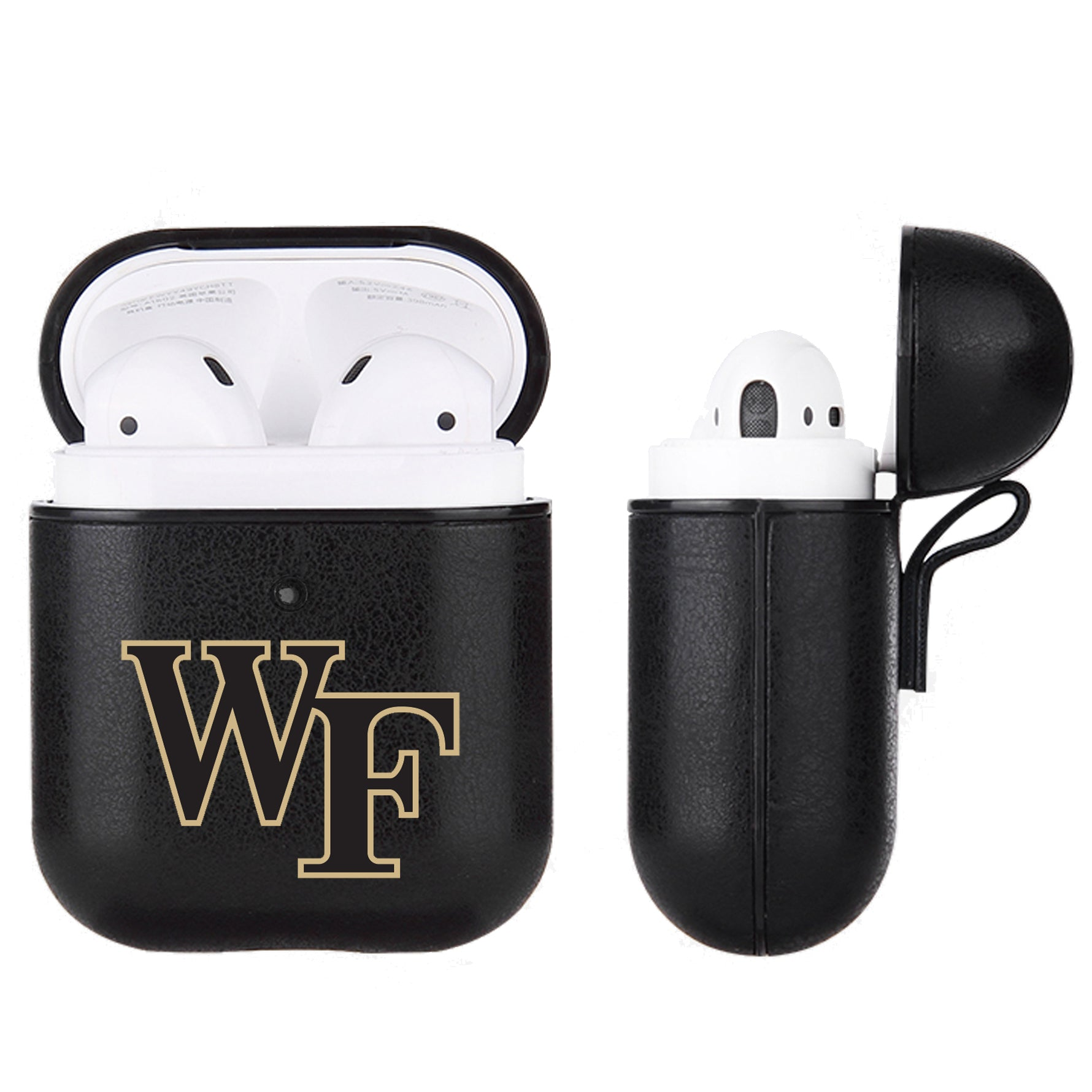 Wake Forest Demon Deacons Primary Mark design Black Apple Air Pod Leather Case